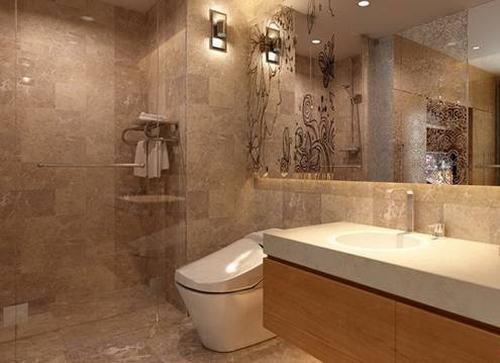 Nhà vệ sinh sử dụng gam màu sáng cùng với 1 chút điểm nhấn.